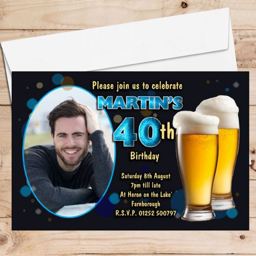 10 Personalised Birthday Party PHOTO Invitations N214 Black & Blue Bokeh Beer Larger ANY AGE